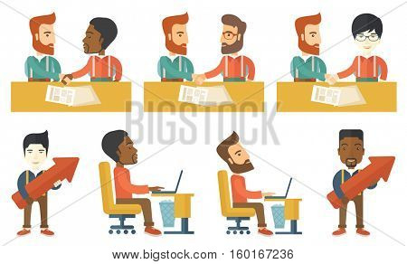 Two happy businessmen shaking hands after signing of business contract. Transaction confirmation by signing of business contract. Set of vector flat design illustrations isolated on white background.