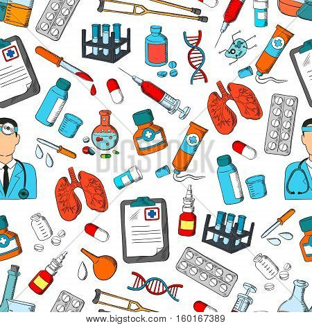 Medicine and hospital seamless pattern with doctor, stethoscope, pill, syringe, test tube, dropper, medication bottle, laboratory flask, DNA and lungs, crutches and enema