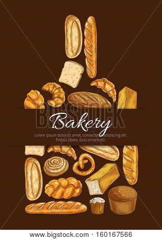 Bakery symbol. Baker shop poster in shape of cutting board with sketch bread icons. Wheat and rye bread loaf, bagel, croissant, pretzel, sweet bun, cinnamon roll, muffin, dessert pie