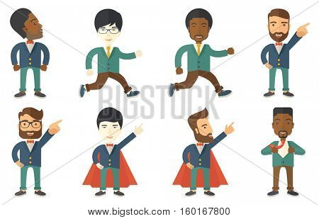 Happy businessman running. Smiling businessman running in a hurry. Cheerful business man running to success. Powerful businessman superhero. Set of vector illustrations isolated on white background.