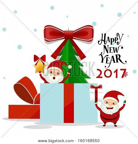 Merry Christmas and Happy new year 2017 Greeting Card with Santa Claus, vector illustration.