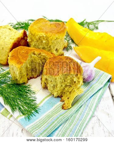 Scones Pumpkin With Garlic And Dill On Light Board