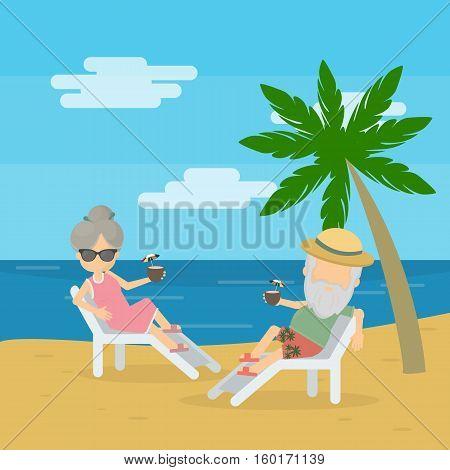 vector illustration of senior couple enjoying their retirement at the beach