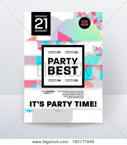 Invitation Disco Party Poster Template with geometric background - vector illustration