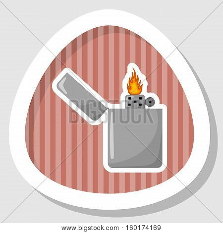 Silver gasoline lighter with burning flame on white background
