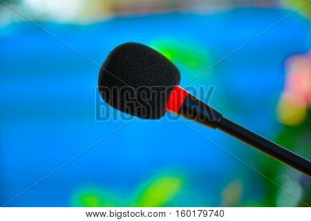 The black microphone for important person speak with people.