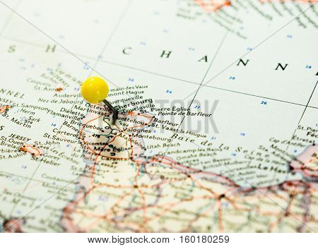 Cherbourg France Pinned on the route map