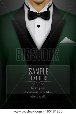Vector illustration of Green tuxedo bow tie illustration