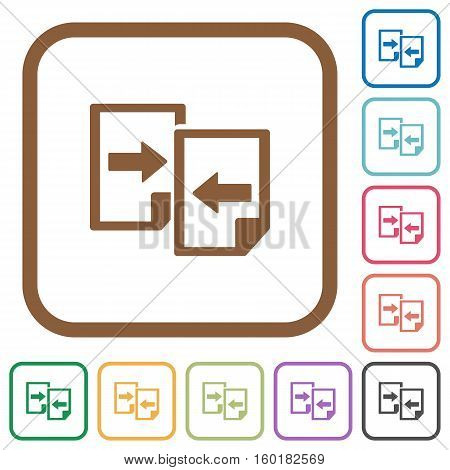 Share documents simple icons in color rounded square frames on white background