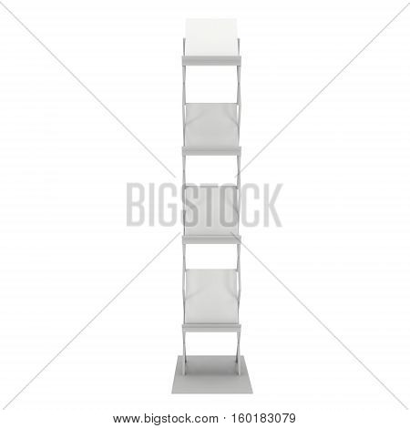 Trade show booth Magazine Rack white and blank. 3d render isolated on white background. High Resolution. Ad template for your design.