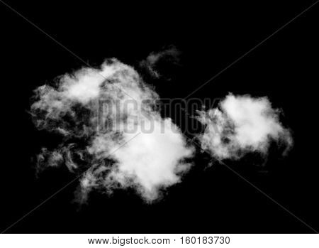 whtie clouds isolated on the black background