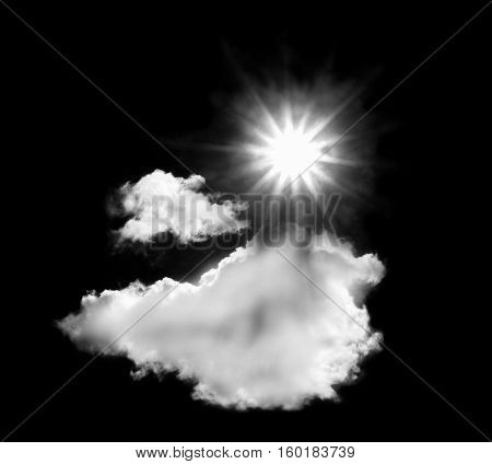 white clouds with sun isolated on black background