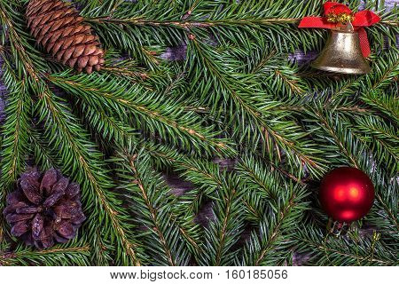 Christmas decoration with pine cones and balls. Can be used as background