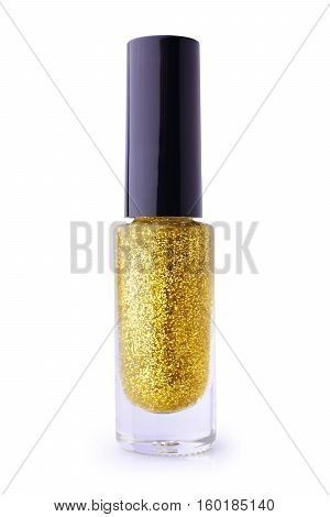 Golden Nail Polish With Glitter