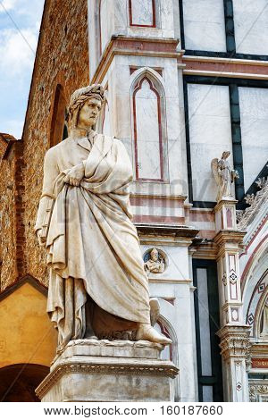Statue Of Dante In Front Of The Basilica Santa Croce. Florence
