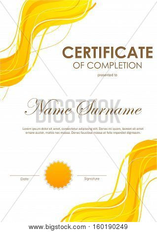 Certificate of completion template with dynamic orange bright wavy background and seal. Vector illustration