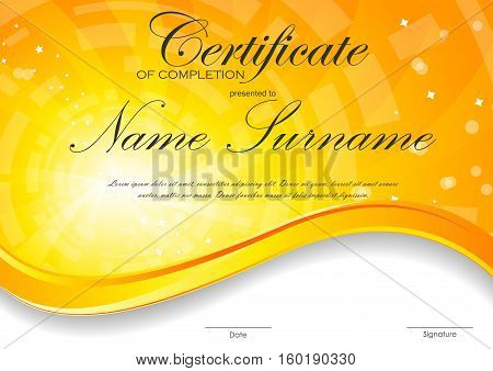 Certificate of completion template with digital orange light wavy swirl background. Vector illustration