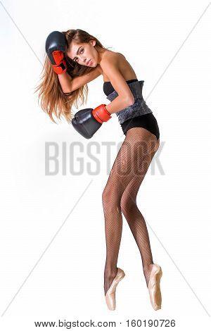 Pretty Ballerina Girl In Boxing Gloves