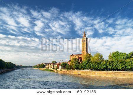 View Of The Adige River And The Santa Anastasia Church, Verona