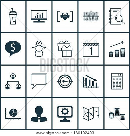 Set Of 20 Universal Editable Icons. Can Be Used For Web, Mobile And App Design. Includes Elements Such As Winter, Manager, Money And More.