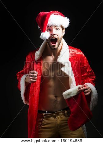 Handsome Muscular Christmas Santa Man
