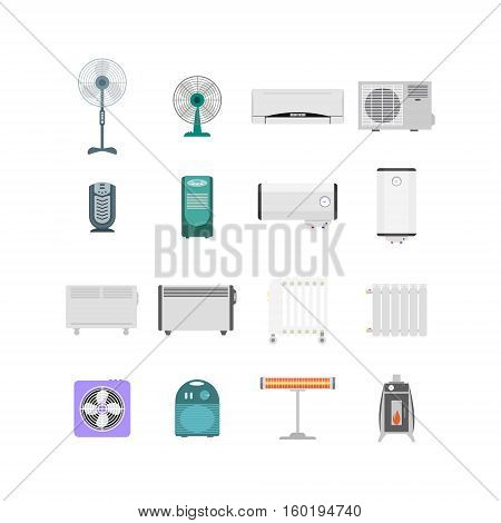 Heating, Ventilation and Conditioning Devices Set for the House And Office. Flat Design Style. Vector illustration