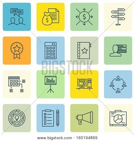 Set Of 16 Project Management Icons. Can Be Used For Web, Mobile, UI And Infographic Design. Includes Elements Such As Task, Statistics, Investment And More.