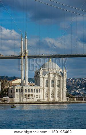 Mecidiye Mosque in famous Ortakoy Istanbul Turkey