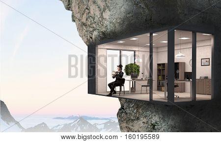 Office interior in rock . Mixed media