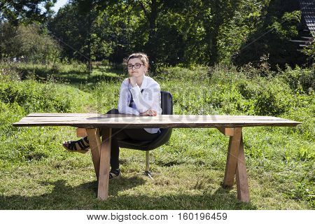 Dreamy Business Woman In The Open Air Office