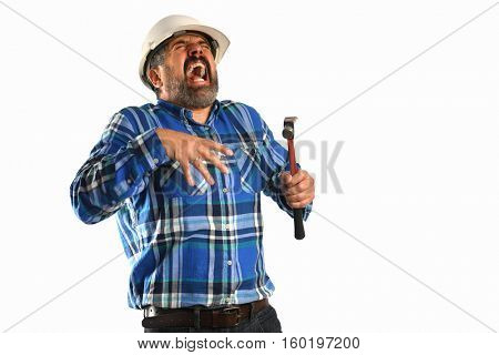 Senior Hispanic worker getting injured with hammer isolated over white background