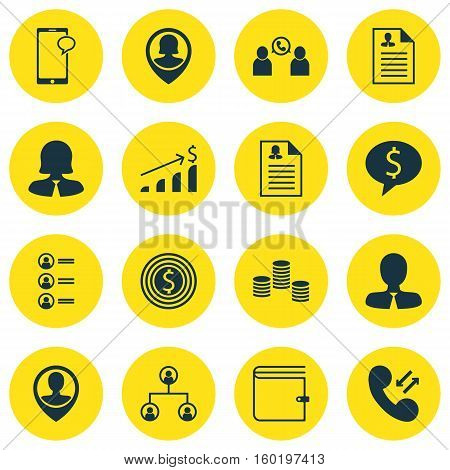 Set Of 16 Human Resources Icons. Can Be Used For Web, Mobile, UI And Infographic Design. Includes Elements Such As Cellular, Employee, Purse And More.