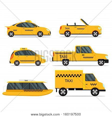 Taxi Service Car Set. Different Types Transport Flat Design Style Fast Urban Transportation Vector illustration