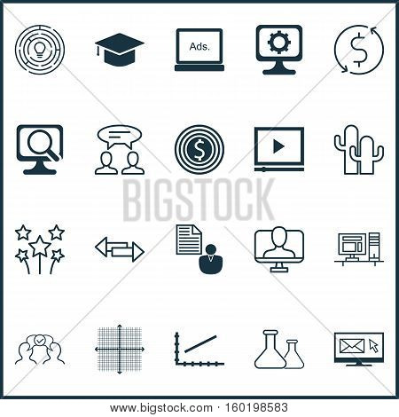Set Of 20 Universal Editable Icons. Can Be Used For Web, Mobile And App Design. Includes Elements Such As Laptop, Business Goal, Innovation And More.