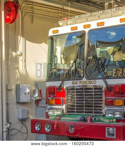 San Francisco, CA, USA, october 22, 2016: San Francisco fire engine truck