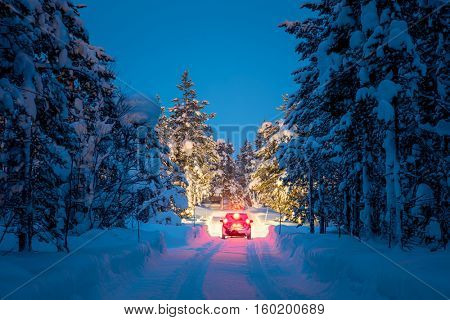 Winter Driving - Lights of car and winter road in dark night forest, big pine trees covered snow