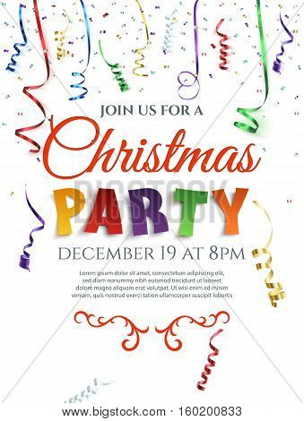 Christmas party poster with confetti and colorful ribbons isolated on white background. Invitation template. Vector illustration.