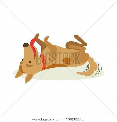 Happy Brown Pet Dog Rolling On The Back , Animal Emotion Cartoon Illustration. Cute Realistic Active Hound Vector Character Everyday Life Scene Emoji.