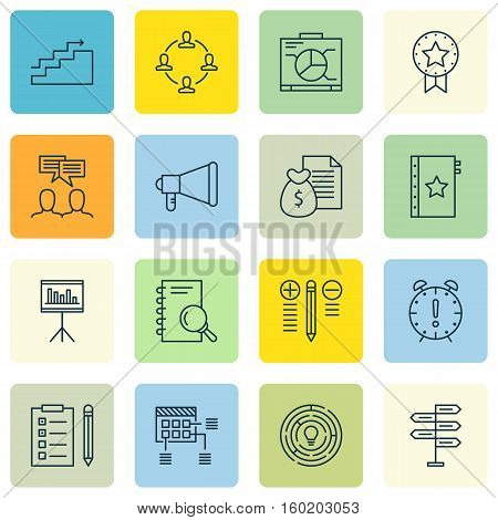 Set Of 16 Project Management Icons. Can Be Used For Web, Mobile, UI And Infographic Design. Includes Elements Such As Date, Dashboard, Chart And More.