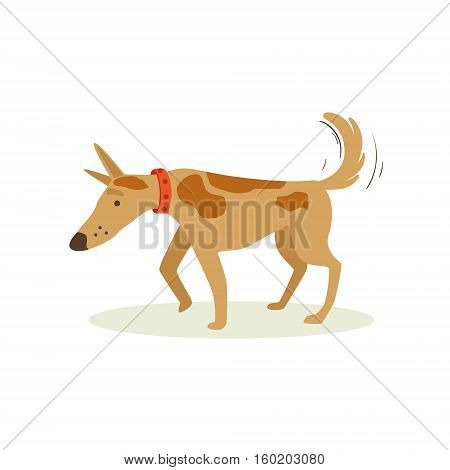 Brown Pet Dog Shuffling Away Disappointed, Animal Emotion Cartoon Illustration. Cute Realistic Active Hound Vector Character Everyday Life Scene Emoji.