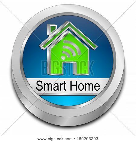 blue Smart Home Button - 3D illustration