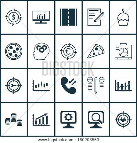 Set Of 20 Universal Editable Icons. Can Be Used For Web, Mobile And App Design. Includes Elements Such As Board, Paper, Stock Market And More.