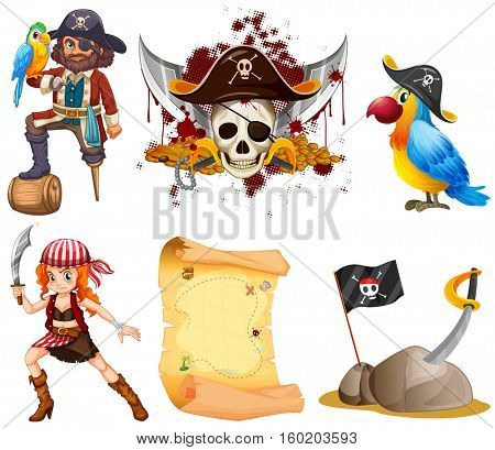 Pirate set with pirates and other symbol illustration
