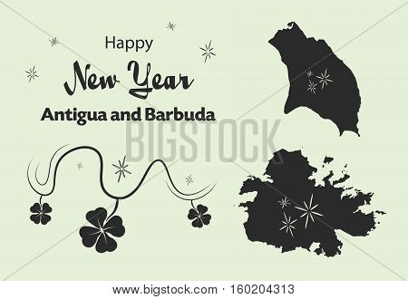 Happy New Year Illustration Theme With Map Of Antigua And Barbuda