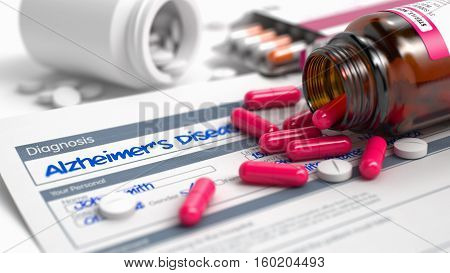 Handwritten Diagnosis Alzheimers Disease in the Differential Diagnoses. Medicaments Composition of Heap of Pills, Blister of Pills and Bottle of Tablets. 3D.