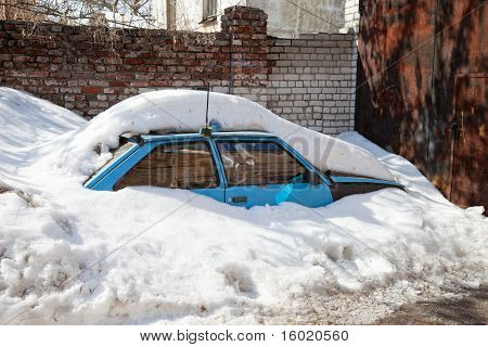 Winter. Car Under The Snow