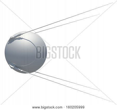 Earth satellite sputnik. 3D illustration. isolated on white background