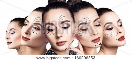 Five faces of young woman with lifting arrows isolated on white