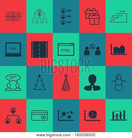 Set Of 20 Universal Editable Icons. Can Be Used For Web, Mobile And App Design. Includes Elements Such As Square Diagram, Present, Photo Camera And More.
