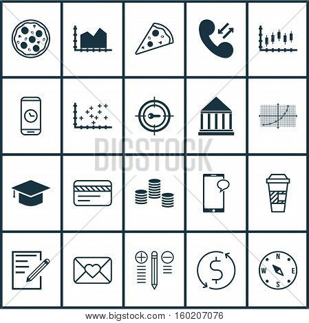 Set Of 20 Universal Editable Icons. Can Be Used For Web, Mobile And App Design. Includes Elements Such As Decision Making, Locate, Education Center And More.